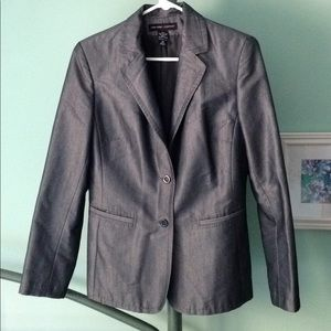 10 Sharkskin Blazer Gray Jacket Pockets 2 Button